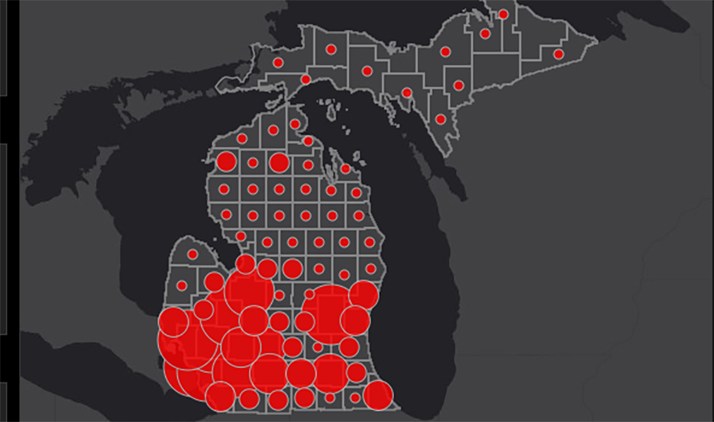 map of michigan with Covid-19 hot zones depicted